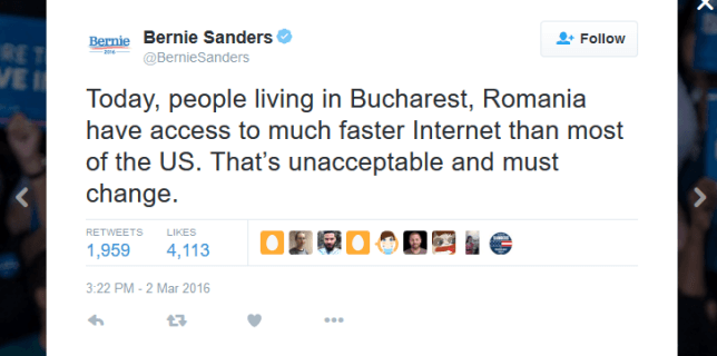 Bernie Sanders and broadband speed