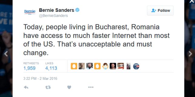 Bernie Sanders and broadband speed